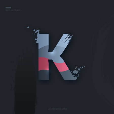 Beautiful pink grey Letter of font. Creative Letter K with brush strokes, drops, splashes and spray. Liquid character of English alphabet on dark background. Vector modern design element for your art