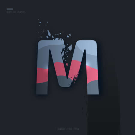 Beautiful pink grey Letter of font. Creative Letter M with brush strokes, drops, splashes and spray. Liquid character of English alphabet on dark background. Vector modern design element for your art