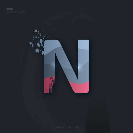 Beautiful pink grey Letter of font. Creative Letter N with brush strokes, drops, splashes and spray. Liquid character of English alphabet on dark background. Vector modern design element for your art