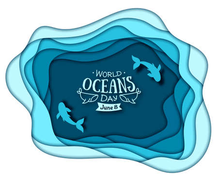 Paper art concept of World Oceans Day. The celebration dedicated to help protect, and conserve world oceans, water, ecosystem. Blue 3d origami craft paper of sea waves and fish