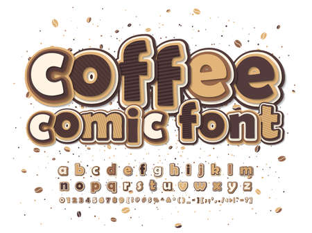 Coffee brown and beige comic font. Multilevel cartoon alphabet, typeface in style of pop art. Multilayer funny letters, figures.