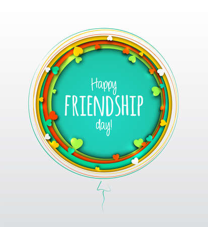 Happy Friendship Day. Beautiful greeting card for holiday and celebration best friends day. Paper art with colorful multilayer balls with hearts. 3d origami, paper cut and craft style Banco de Imagens - 131338191