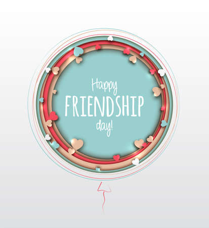 Happy Friendship Day. Beautiful greeting card for holiday and celebration best friends day. Paper art with colorful multilayer balls with hearts. 3d origami, paper cut and craft style