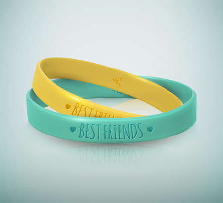 Happy Friendship Day. Realistic yellow and turquoise rubbers friendship bracelets for best friends. Beautiful greeting card for holiday and celebration friends day. Vector illustration Ilustração