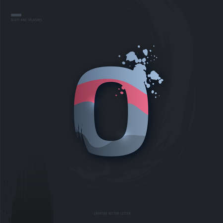 Beautiful pink grey Letter of font. Creative Letter O with brush strokes, drops, splashes and spray. Liquid character of English alphabet on dark background. Vector modern design element for your art