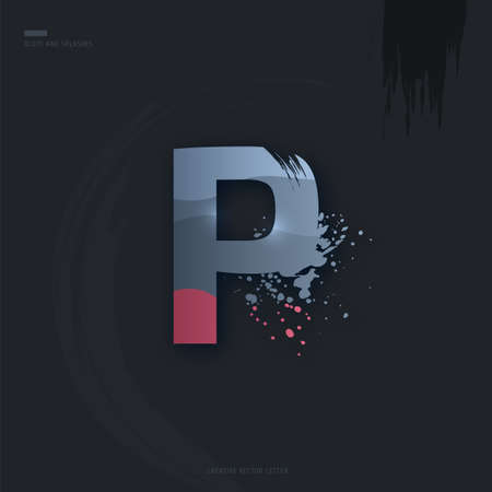 Beautiful pink grey Letter of font. Creative Letter P with brush strokes, drops, splashes and spray. Liquid character of English alphabet on dark background. Vector modern design element for your art Çizim