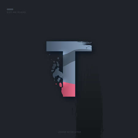 Beautiful pink grey Letter of font. Creative Letter T with brush strokes, drops, splashes and spray. Liquid character of English alphabet on dark background. Vector modern design element for your art Çizim