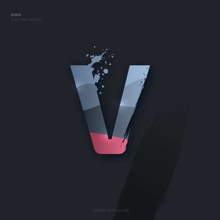 Beautiful pink grey Letter of font. Creative Letter V with brush strokes, drops, splashes and spray. Liquid character of English alphabet on dark background. Vector modern design element for your art Çizim