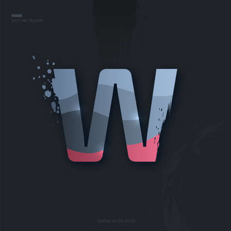 Beautiful pink grey Letter of font. Creative Letter W with brush strokes, drops, splashes and spray. Liquid character of English alphabet on dark background. Vector modern design element for your art Çizim