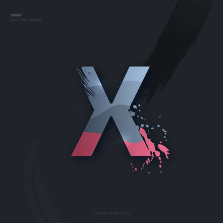 Beautiful pink grey Letter of font. Creative Letter X with brush strokes, drops, splashes and spray. Liquid character of English alphabet on dark background. Vector modern design element for your art