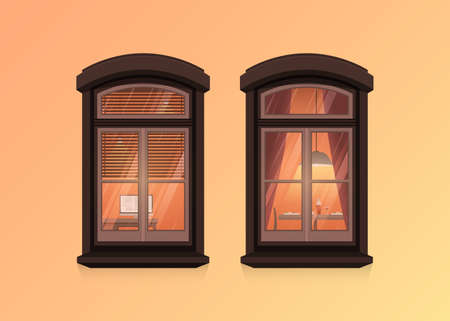 Two windows frames view on house wall. Highly detailed windows with apartment interior. Architecture design in cartoon and flat style. Outdoor or exterior view of the building and home