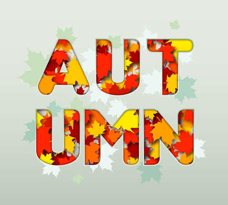 Autumn design. Word of autumn from colorful maple leaves. Beautiful fall poster with red, orange and yellow foliage. Illustration