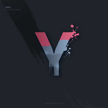 Beautiful pink grey Letter of font. Creative Letter Y with brush strokes, drops, splashes and spray. Liquid character of English alphabet on dark background. Vector modern design element for your art Çizim