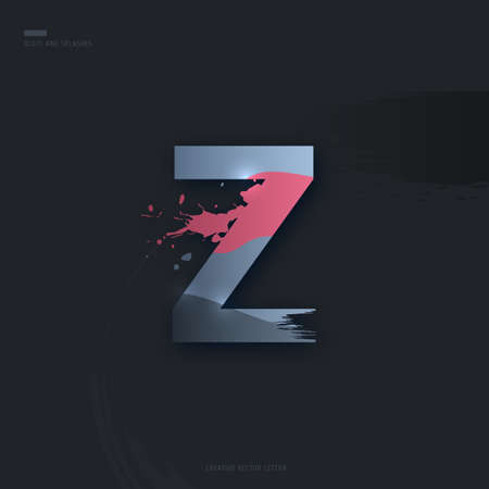 Beautiful pink grey Letter of font. Creative Letter Z with brush strokes, drops, splashes and spray. Liquid character of English alphabet on dark background. Vector modern design element for your art Çizim