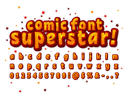 Juicy yellow and orange comic font on comics book page. Multilevel cartoon alphabet, typeface in style of pop art. Multilayer funny letters, figures.