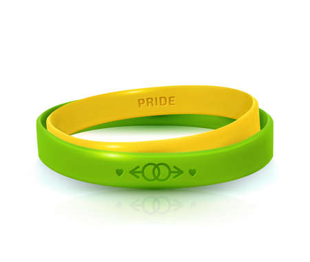 LGBT Pride concept. Yelllow and green rubber bracelets for homosexual people. Silicone wristbands with symbols of gender: Lesbian and Gay. Day of bisexuality and International Day for Tolerance poster Standard-Bild - 132540405