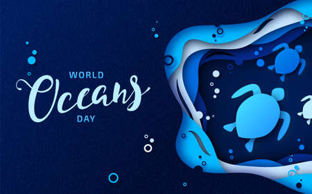 World Oceans Day, paper cut art. Global celebrate dedicated to protect and conserve purity of water, problem plastic pollution of nature, ecology planet. Origami underwater world, sea waves, turtles
