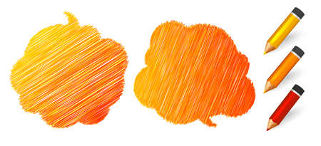 Speech bubbles draw pencils. Hand drawn doodles banners with place for quotes on white background. Two orange sketch clouds, lines stroke and scribble. Vector illustration