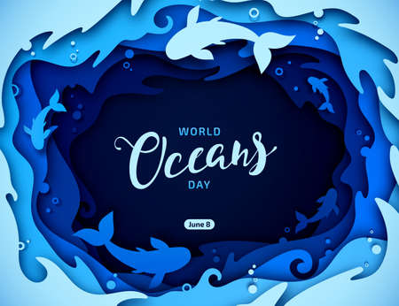 Day of Water and World Oceans Day, paper art. Global celebrate dedicated to protect and conserve oceans, problem of plastic water pollution, ecosystem, ecology of planet. Origami of sea waves, fishes.