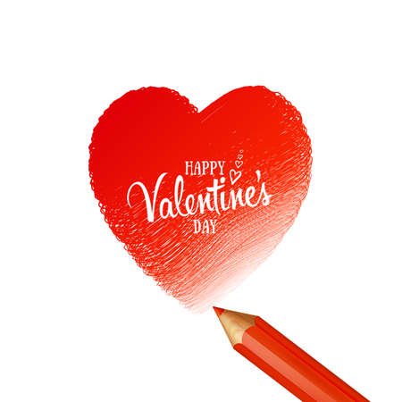 Greeting Card happy Valentines day love. Holiday background on February 14 with red doodle heart and lettering. Romantic banner painted with pencil