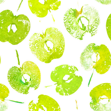 Seamless pattern with imprints halved of apples painted with watercolor. Handmade stamp fruits. Vector background Archivio Fotografico - 132759407