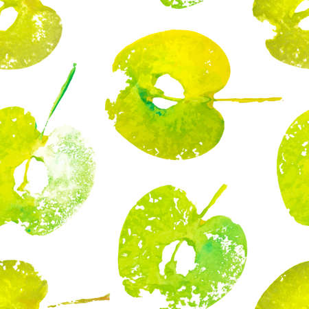 Seamless pattern with imprints halved of apples painted with watercolor. Handmade stamp fruits. Vector background Archivio Fotografico - 132759409