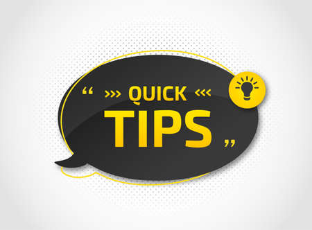 Helpful tricks with useful information for website or blog post. Quick tips. Black speech bubble with text and quote. Vector icon of solution, advice. Archivio Fotografico - 132759410