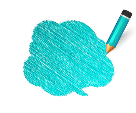 Hand drawn speech bubble paint with pencil on white background. Banner with doodles of turquoise crayon and place for message. Sketch cloud, colorful lines stroke and scribble Ilustração