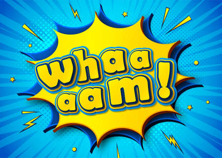 Wham background in comic book and pop art style. Cartoon colorful poster with speech bubbles, multilayer and multicolored funny letters, halftone and sound effects on blue striped background. Archivio Fotografico - 132759559
