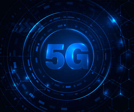 5G wireless internet wifi connection. Fifth innovative generation of the global high speed broadband network. Binary code flow for big data. Glowing blue abstract background. Archivio Fotografico - 132759563