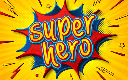 Cartoon comic book with speech bubble Superhero. Poster in comics and pop art style with multilayer funny letters, halftone and sound effects on yellow striped background. Colorful cool banner. Archivio Fotografico - 132759566
