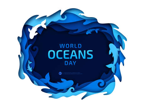 Paper art of World Oceans Day. Global celebration dedicated to help protect and conserve world oceans, water, underwater world, ecosystem, ecology. Poster with blue origami of sea waves and fishes.