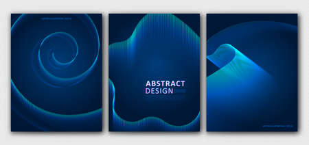 Set layouts of brochures, templates. Abstract blue background for cover design, magazine, flyer. Outline geometric pattern, line design. Vector illustration Archivio Fotografico - 132759570