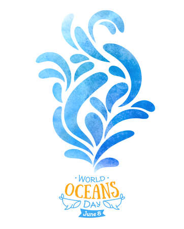 World Oceans Day. The celebration dedicated to help protect, and conserve the world s oceans. Abstract waves of water hand drawn painted watercolor.