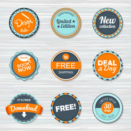 Vintage labels template set: free shipping ,free, download, new collection, deal of the day, book now. Retro badges for your design on wooden background. Vector illustration Archivio Fotografico - 132759572