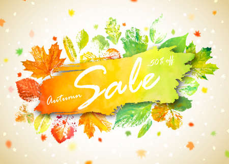 Autumn season sale banner. Concept autumn advertising with hand drawn watercolor fall leaves. Modern design promo poster with watercolor colorful foliage of yellow, orange and green color. Archivio Fotografico - 132759577