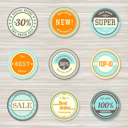 Retro badges for your design on wooden background. Vector illustration Archivio Fotografico - 132759761