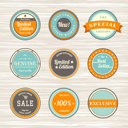 Vintage labels template set: best seller, new, limited edition, exclusive, sale, royal quality, best choice. Retro badges for your design on wooden background. Vector illustration Archivio Fotografico - 132759778