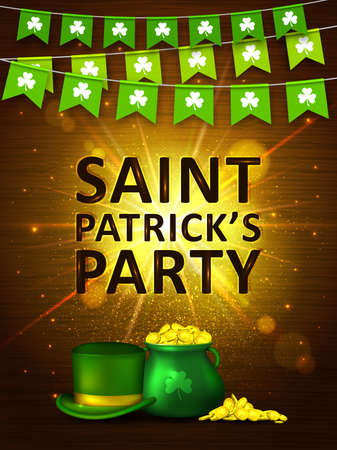 Garland flags with clover, green pot of gold coins and green hat on on shining gold background. Irish holiday Saint Patricks Day. Vector illustration for party poster, banner, disco night placard