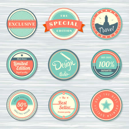Vintage labels template set: special edition, exclusive, travel, design studio, best seller, guarantee and discount. Retro badges on wooden background. Vector illustration Archivio Fotografico - 132759764