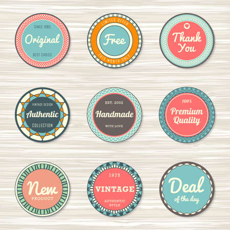 Vintage labels template set: original, premium quality, deal of the day, authentic, free, handmade, new. Retro badges for your design on wooden background. Vector illustration Archivio Fotografico - 132759765