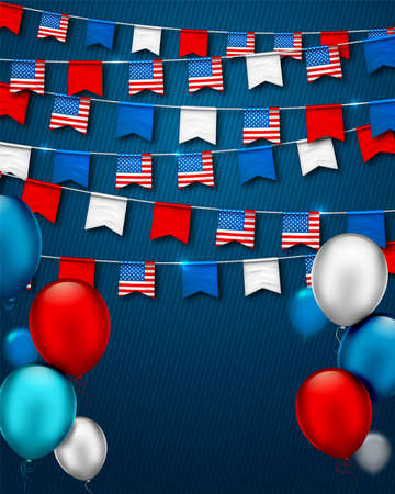 Garlands of flags of USA. Patriotic symbolic decoration for holiday in America with confetti and colorful balloons on blue background. Vector banner for Independence Day, Veterans or labor day Archivio Fotografico - 132759766