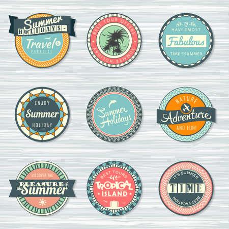 Retro badges for your design on wooden background. Vintage summer typography design. Vector illustration. Archivio Fotografico - 132759769