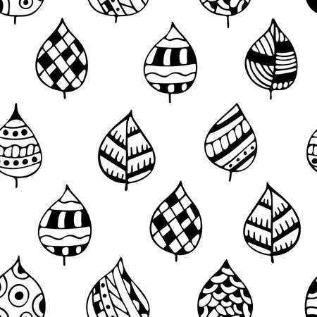 Hand-drawn black and white template texture, doodles. Seamless leaf pattern. Archivio Fotografico - 132759771