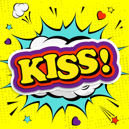 Creative poster with the lettering Kiss for Valentines day in the style of comics. Greeting card for your design. Vector illustration. Archivio Fotografico - 132759776