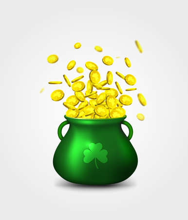 Green pot of gold coins on white background. Irish holiday, celebration party. Irish holiday Saint Patrick's Day. Vector illustration Archivio Fotografico - 132759777