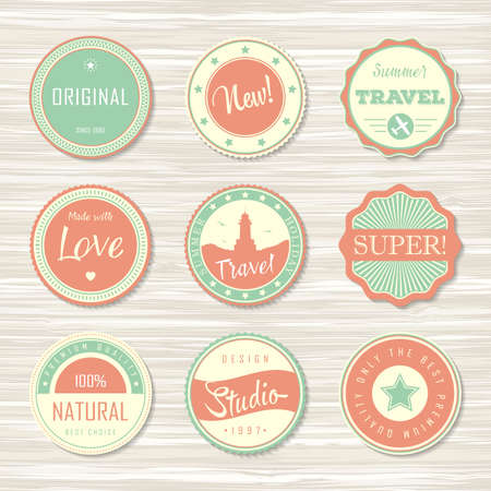 Retro badges for your design on wooden background. Vector illustration. Archivio Fotografico - 132759779