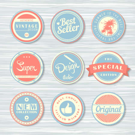 Retro badges for your design on wooden background. Vector illustration. Archivio Fotografico - 132759781
