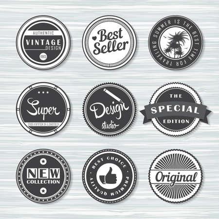 Retro badges for your design on wooden background. Vector illustration. Archivio Fotografico - 132759783