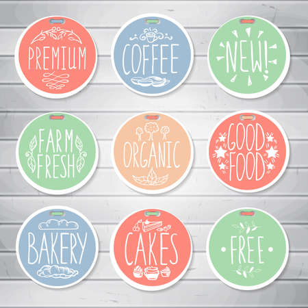 Set of retro badges. Hand-drawn lettering. Set of creative colored handmade food labels with inscriptions Archivio Fotografico - 132759784